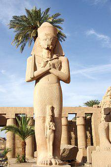 Egypt, Karnak, Temple, Amen, Statue, Colonnade