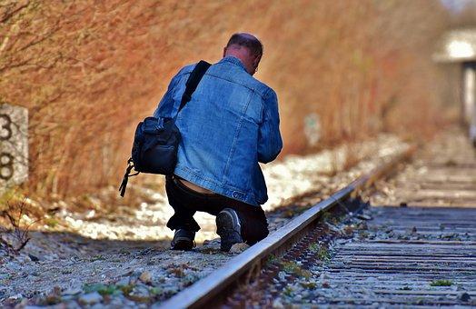 Disused Railway Line, Railway Station, Man, Camera Bag
