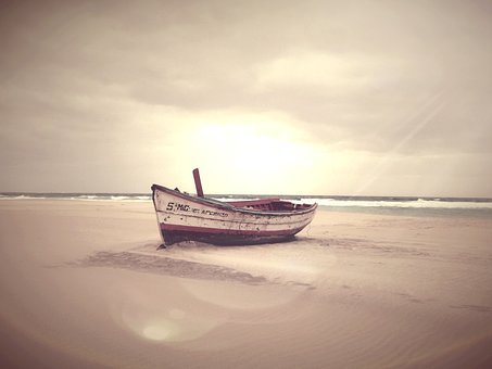 Body Of Water, Sea, All, Beach, Boat, Sunset, Himmel