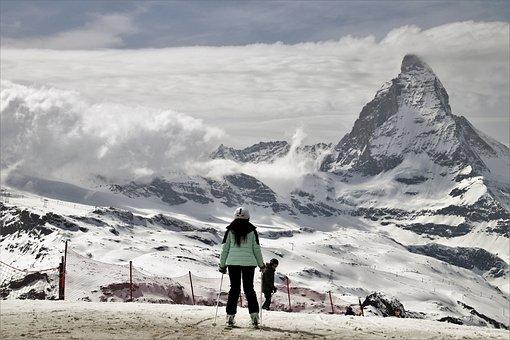 Matterhorn, Skis, Sport, Snow, Mountain, Ice, Winter