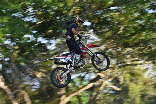 Motocross, Dirtbike, Motion Blur, Speed, Jump, Midair
