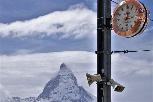 Matterhorn, Travel, No One, Clock, Omega, Top, Time