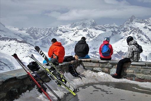 Panorama, The Alps, Zermatt, Rest, Skiers, Snow, Winter