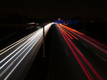 Traffic, Highway, Road, Night, Light