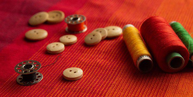 Sewing, Yarn, Desktop, Stitching, Button, Bobbin, Red