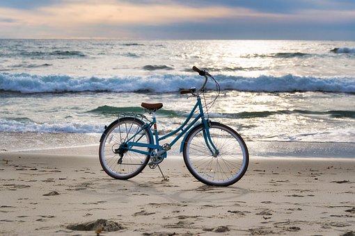 Sea, Beach, Water, Ocean, Sand, Bike, Nature, Travel