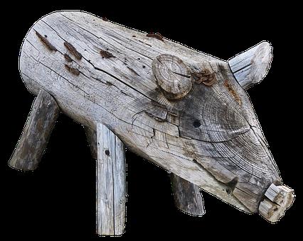 Pig, Boar, Holzfigur, Figure, Wood, Animal, Weathered