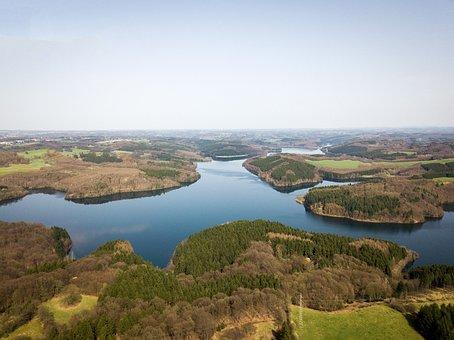 Aerial View, Drone, Dji, Flight, Lake, Germany, Trees