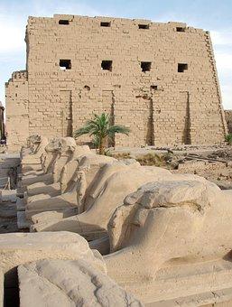 Egypt, Karnak, Temple, Rams, Amen, Pylon, Architecture