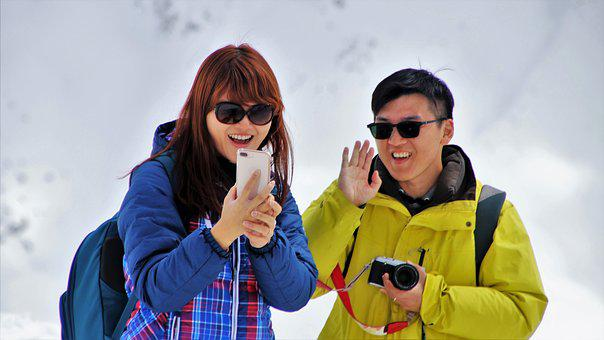 Camera, The Alps, High, Phone, Face, Tourism, Glasses