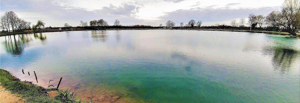 Waters, Nature, Panoramic, Landscape, Sky, Lake, Colors