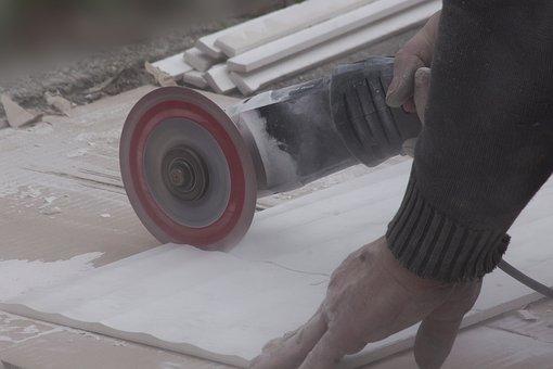 Angle Grinder, Flex, Dust, Fine Dust, Ceramic Tile