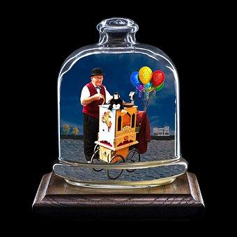 Composing, Organ Player, Glass, Photo Montage