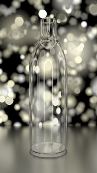 Bottle, Glass, Clear, Abstract Bokeh Background, 3d