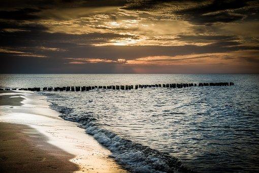 Evening Sky, Sea, Breakwater, Beach, Sand
