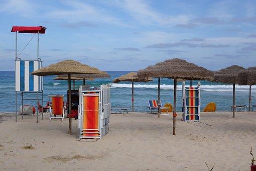 Sardinia, Low Season, Parasol, Deck Chair, Sun Loungers