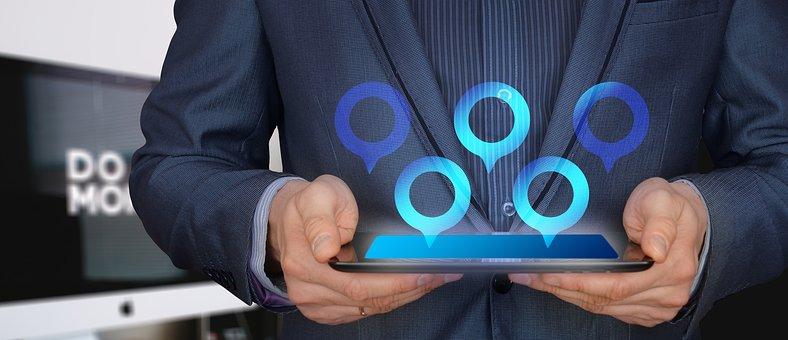 Businessman, Tablet, Control, City, Man, Suit