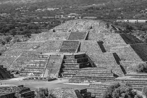 Mexico, B N, Moon, Teotihuacan, Pyramid, Pyramids