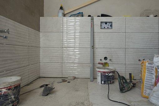 Bad, Renovation, Tiles, Tiled, Wall, House, Concrete