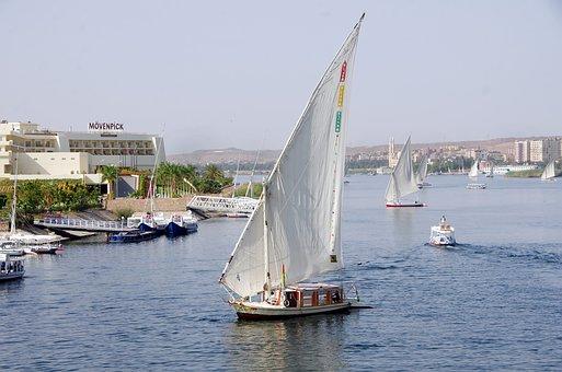 Egypt, Aswan, Felucca, Navigation, Nile, River, Sailing