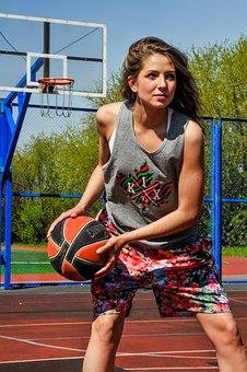 Girl, Park, Sports, Basketball, People, Athlete, Train