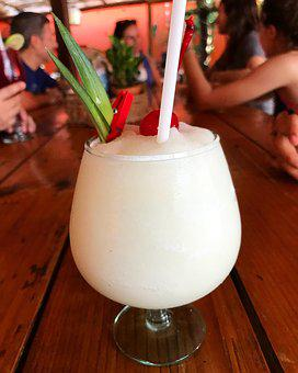 Cocktail, Drink, Milk, Glass, Straw, Bar, Tropical