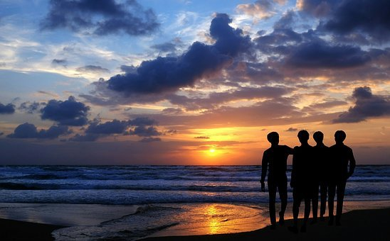 Sunset, Beach, Sun, Sand, Friends, Friendship, Vaction