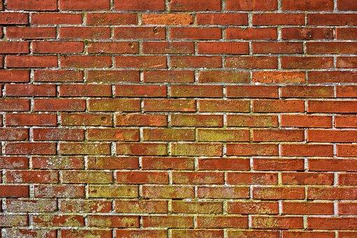 Brick Wall, Wall, Masonry, Brickwork, Red Brick Wall