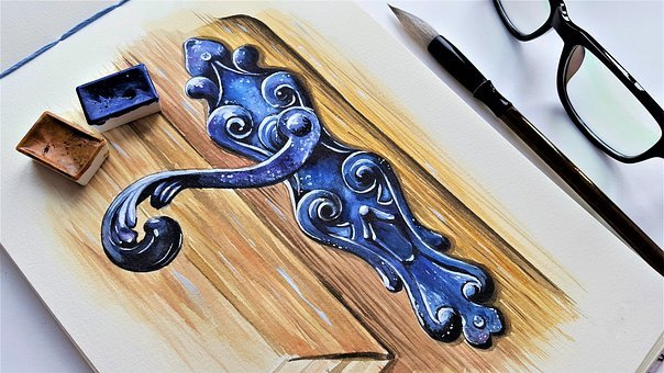 Art, Painting, Door Handle, Door, Lock, Ornament, Blue