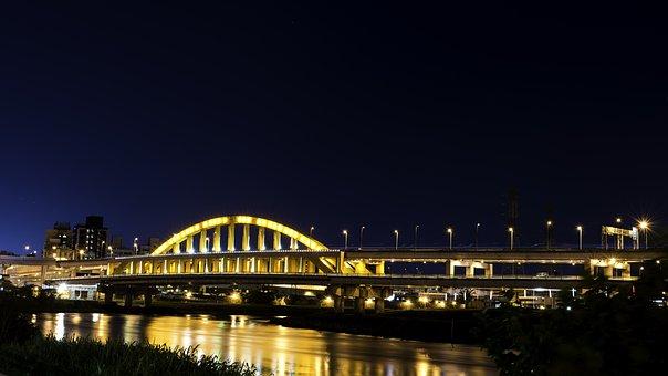Bridge, Architecture, Travel, River, Water, City, Dusk