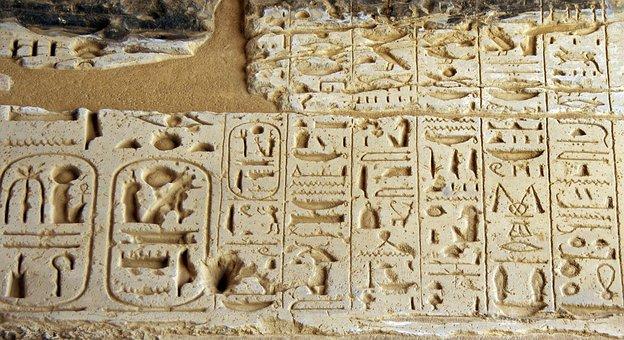Egypt, Medinet-habu, Hieroglyphs, Writing, Engraving
