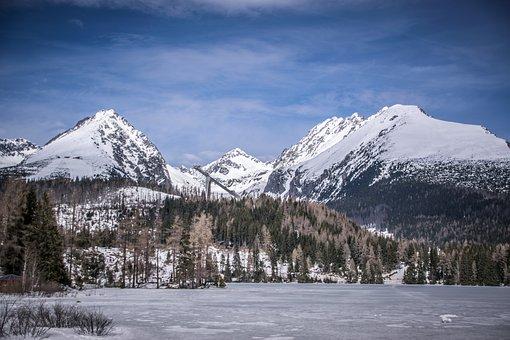 Mountains, Panorama, Landscape, Snow, Blue Sky, Lake
