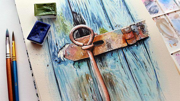 Art, Painting, Paper, Color, Watercolor, Brush, Door