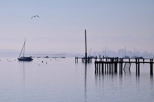 Waters, Sea, Pier, Sky, Reflection, Water, Lake, Web