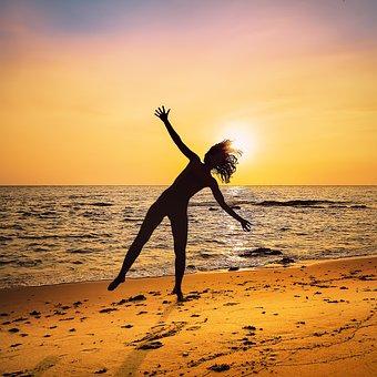 Sunset, Beach, Sun, Silhouette, Sea, Evening Sun