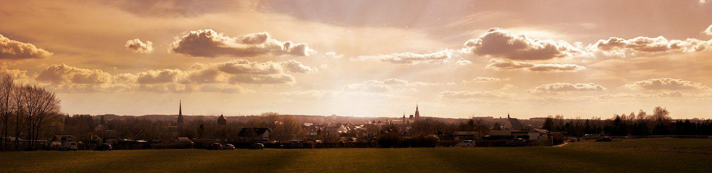 Freiberg, City, Panorama, Nature, Sunset, Landscape