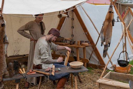 People, Wood, Artisan, Carpenter, Medieval, Tent
