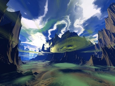 Alien, Planet, Valley, Travel, Panoramic, Cloudscape