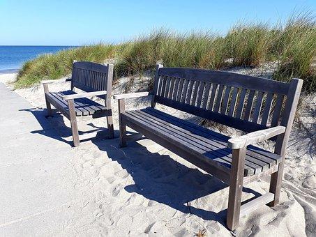 Bank, Beach, Sea, Bench, Sky, Blue, Rest, Relax, Break