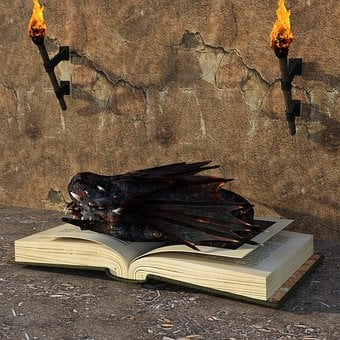 Dragons, Book, Torches, Fairy Tales, Storybook, Fantasy