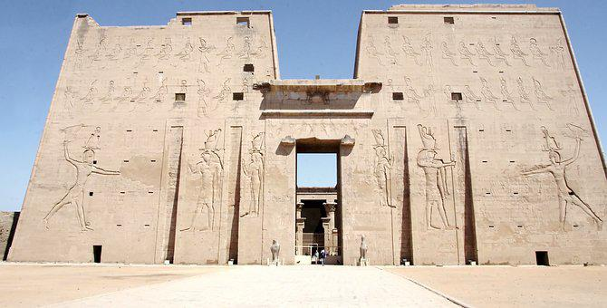 Egypt, Edfu, Temple, Architecture, Facade, Court, Tower