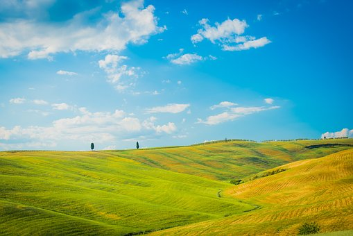 Panorama, Field, Sky, Nature, Grass, Rural, Schönwetter