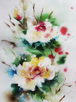 Watercolour Painting, Watercolor, Yellow, Flower