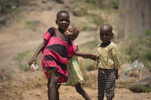 Kids, Playing, Outside, Turkana, Kenya, Africa