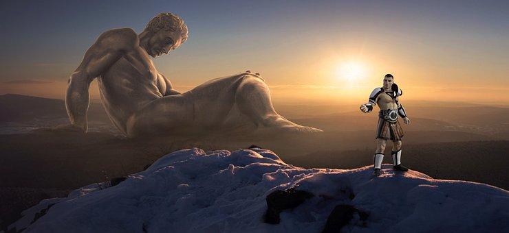 Fantasy, Giant, Man, Figure, Sun, Fantasy Picture