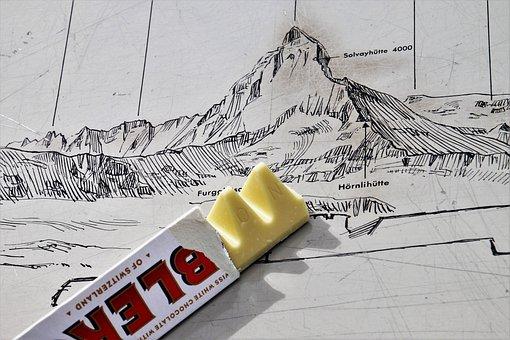 Chocolate, An Array Of, Map, Tops, The Alps, Matterhorn