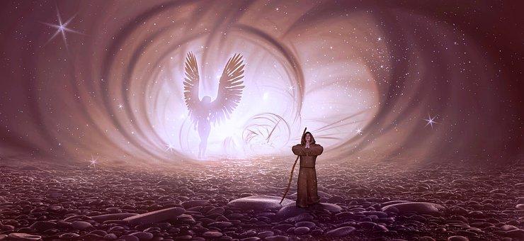 Fantasy, Monk, Angel, Pray, Light, Mystical, Human