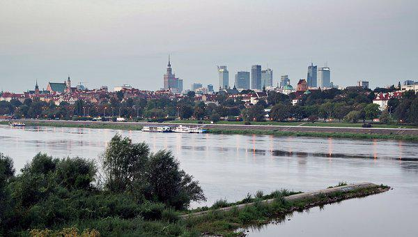 Warsaw, City, Wisla, Skyscrapers, River, Panoramic