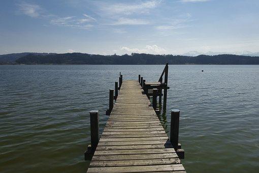 Waters, Lake, Pier, Nature, Wood, Mountains, Alpine