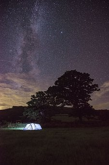 Landscape, Tree, Nature, Sky, Milky Way, Tent, Camping